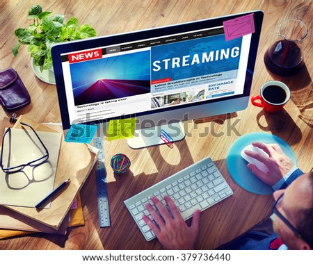 Streaming Technology Data Network Transfer Concept - stock photo