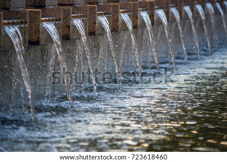 streams of fountain water