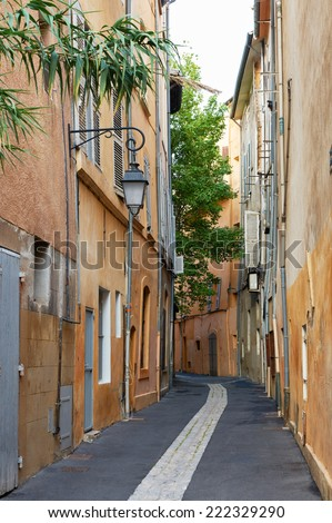 Street and ancient buildings in the old hystorical part of Aix en Provence town, South France - stock photo