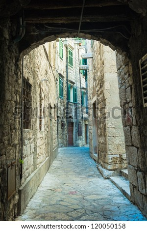 Street and architecture of the old city of Dubrovnik, Croatia. UNESCO World Heritage - stock photo