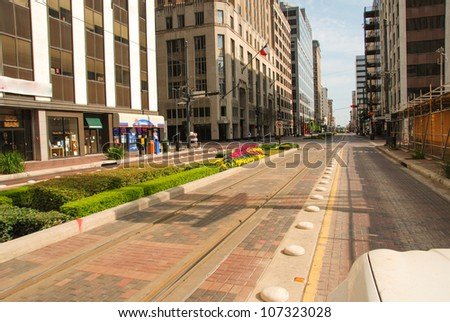 Street and Buildings in Downtown Houston, Texas - stock photo