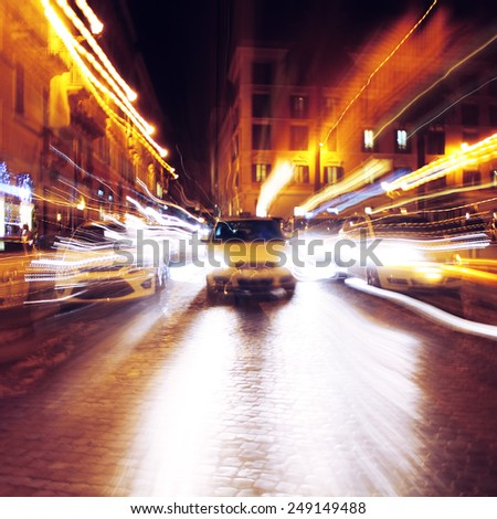 street and cars abstract background. City and lights at night - stock photo
