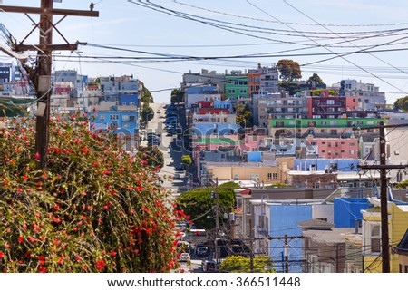 Street and houses in San Francisco - stock photo
