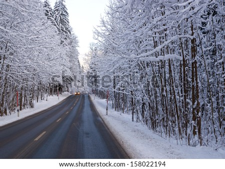 Street and Winter - stock photo