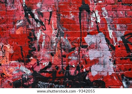 Street Art - Red Wall - stock photo