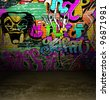 Street art urban background, graffiti wall - stock photo