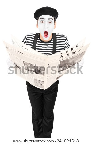 Street artist with newspaper making a grimace isolated on white background - stock photo
