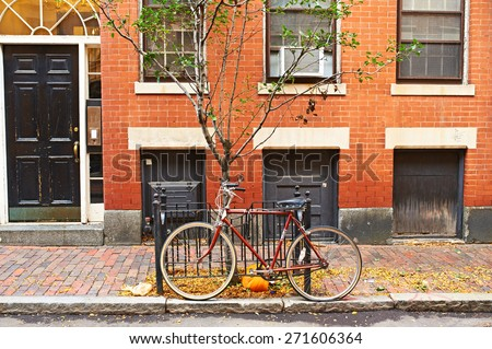 Street at  Beacon Hill neighborhood, Boston, USA. - stock photo