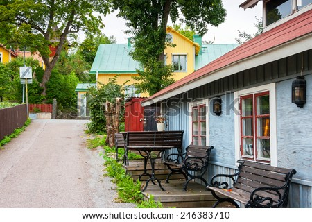 Street at Sigtuna - oldest town in Sweden. Scandinavia, Europe  - stock photo
