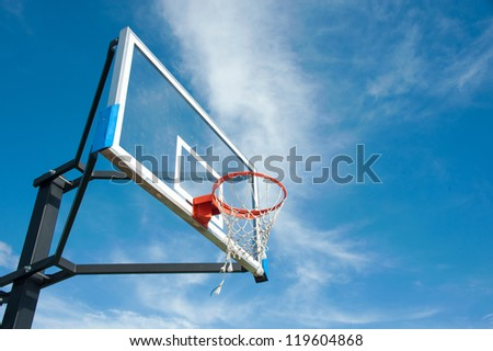 street basketball board with the blue sky - stock photo