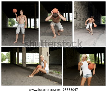 Street Basketball people collage. Made of five photos. - stock photo