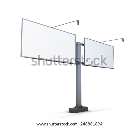 Street billboard isolated on white background. 3d render image. - stock photo