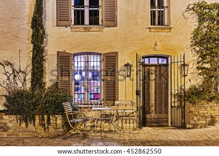 Street cafe at night in Saint-Tropez, France