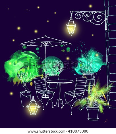 Street cafe europe green watercolor night romantic - stock photo