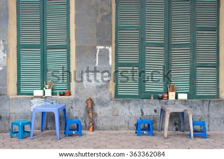 Street Cafe, Hanoi, Vietnam - stock photo