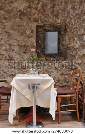 Street cafe in Cannes - stock photo