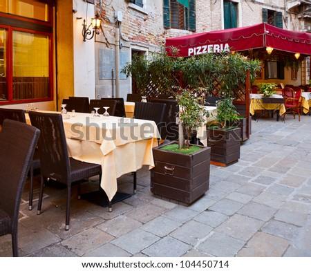 Street cafe in Verona, Italy - stock photo