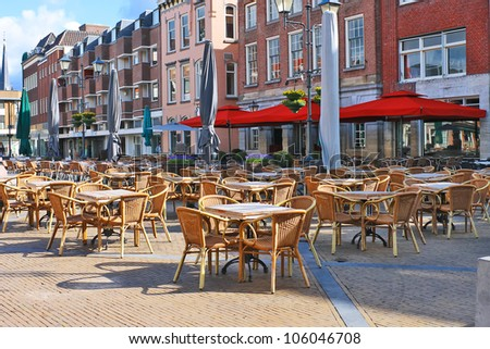 Street cafe on the square in Gorinchem. Netherlands - stock photo