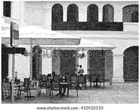 Street Cafe outdoor Exterior ,Drawing by Pencil ,illustration - stock photo