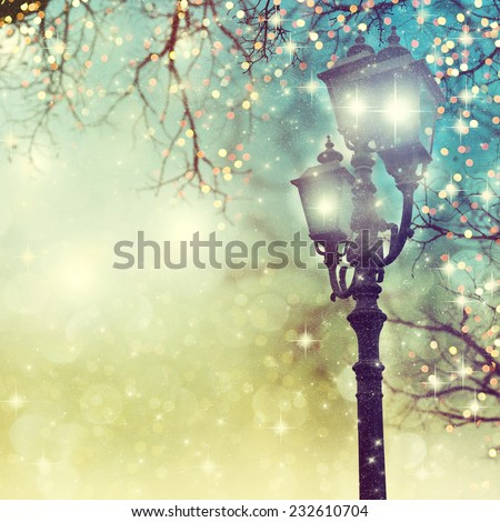 Street Christmas lights on background. - stock photo