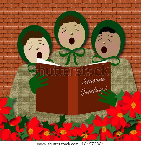 street corner carolers with poinsettia foreground illustration - stock photo