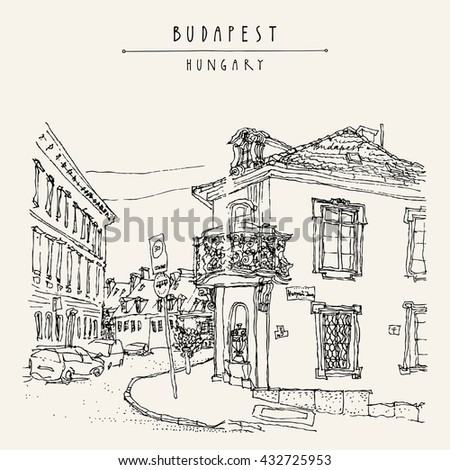 Street corner in Budapest city, Hungary, Europe. Architectural hand drawing. Travel sketch. Book illustration. Vintage touristic postcard, poster template
