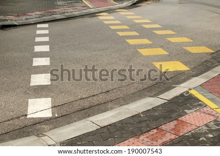 Street crossroad markings for pedestrians and bikers