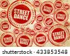 street dance, red stamp on a grunge paper texture - stock vector