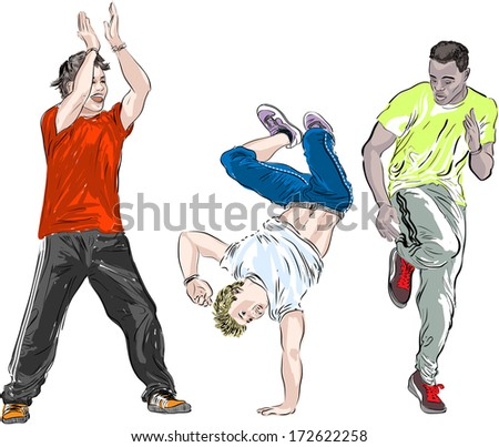 Street dancers on a white background. Raster version - stock photo