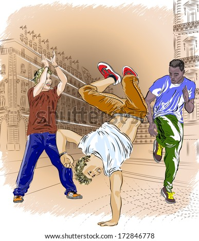 Street dancers on an abstract city background. Raster version  - stock photo
