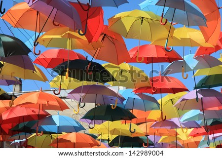 Street decorated with colored umbrellas, Madrid, Getafe, Spain - stock photo