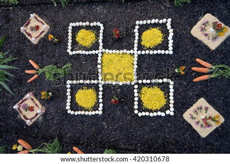 street decoration made of sawdust and food at holy week in guatemala - stock photo