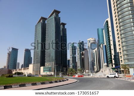 Street downtown in Doha, Qatar, Middle East