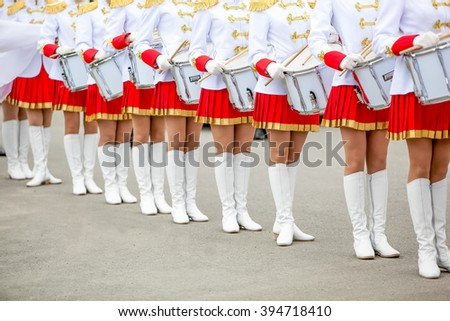 street drummers orchestra before procession - stock photo