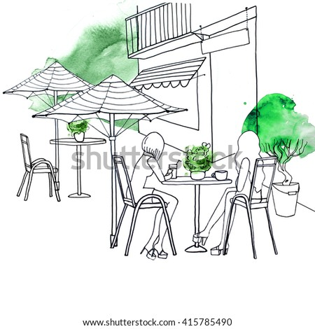 Street european cafe watercolor black lines green people - stock photo