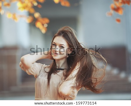 Street fashion portrait of young lady. - stock photo
