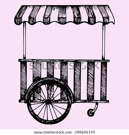 Street fast food cart, doodle style, sketch illustration, hand drawn, raster - stock photo