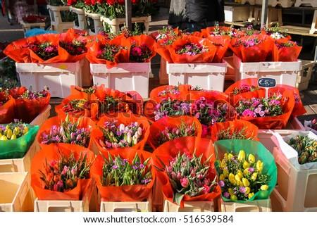 Street flower shop with colourful tulip bouquets. Utrecht, the Netherlands