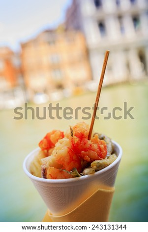 Street food, Fritto Misto in Venice - stock photo