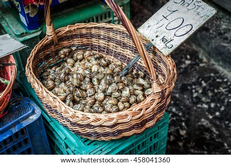 Street food market, A Piscaria, In Catania, Sicily - stock photo