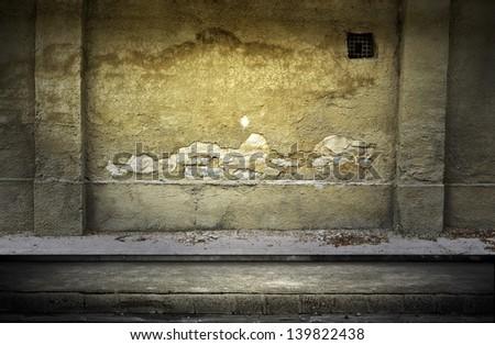 Street grunge wall. Digital background for studio photographers. - stock photo