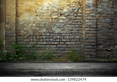 Street grunge wall. Digital background for studio photographers. - stock photo
