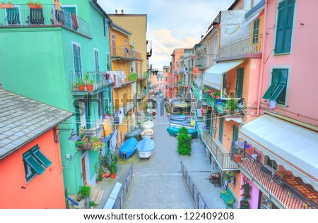 Street in a traditional Italian village Manarola (Cinque Terre, Italy) - stock photo