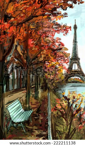 Street in autumn Paris. Eiffel tower -sketch illustration  - stock photo