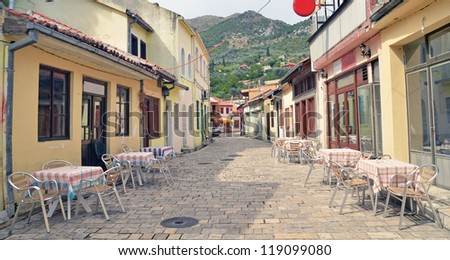 Street in Bar, old town in Montenegro - stock photo