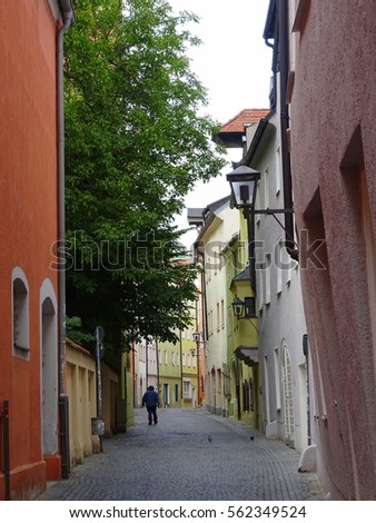 Street in Bavaria, Ansbach, Germany