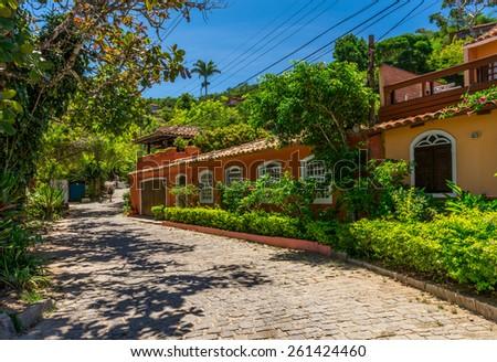 Street in Buzios, Rio de Janeiro. Brazil - stock photo