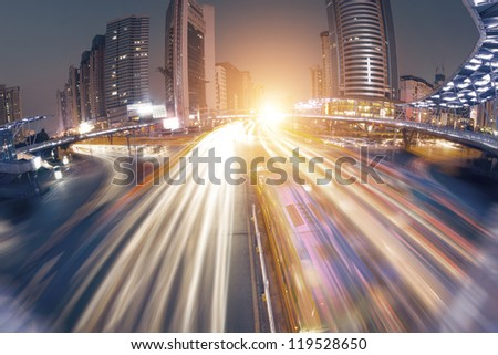 Street in city at night - stock photo