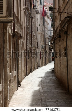 Street in Dubrovnik - stock photo
