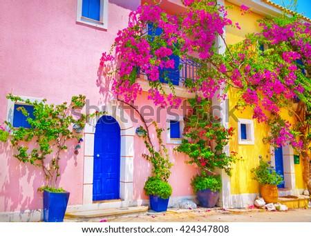 Street in Kefalonia, Greece - stock photo